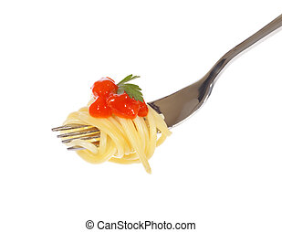 Spaghetti with sauce, photo on the white background