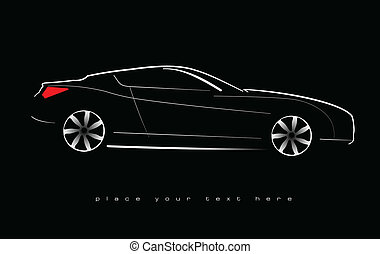 White silhouette of car sedan on b