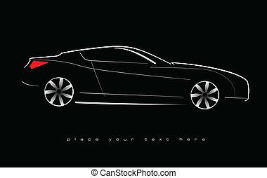 White silhouette of car sedan on black background Vector...