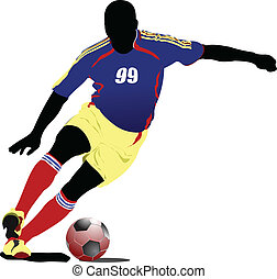 Soccer players. Colored Vector ill