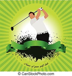 Golfer hitting ball with iron club Vector illustration