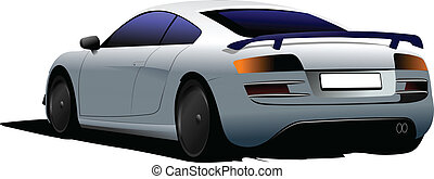 Light-blue car-coupe on the road Vector illustration