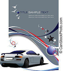 Blue-gray business background with sport car image. Vector...