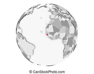 Guinea-Bissau on grey globe isolated - Guinea-Bissau...