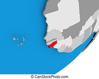 Map of Guinea-Bissau - 3D render of Guinea-Bissau on...
