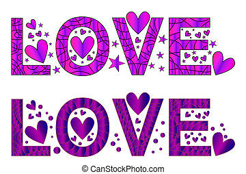 Purple love text with hearts