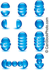 Parts of glass blue balls