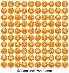 100 national flag icons set orange - 100 national flag icons...