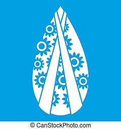 Memorial wreath icon white isolated on blue background...