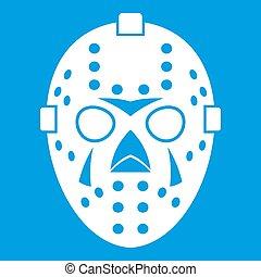 Goalkeeper mask icon white isolated on blue background...