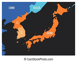 Map of South Korea, North Korea and Japan. Vector...