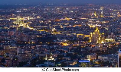 Aerial top view of Moscow night timelapse after sunset. Form...