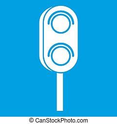 Semaphore trafficlight icon white isolated on blue...