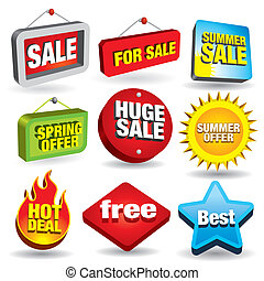 Sale Signs - Set of 3D price tags and sale signs. Visit my...