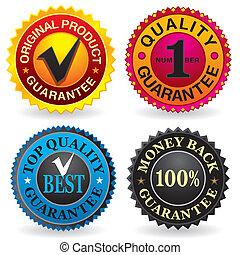 Quality, Guarantee Labels - Quality, Guarantee Label set...