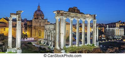 Famous Ruins of Forum Romanum on Capitolium hill in Rome,...