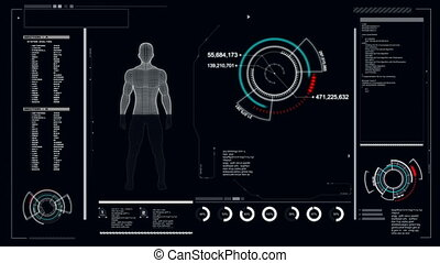 4K Animation User interface with HUD graph bar pi with space...