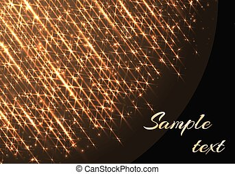 Template with sparkles and golden rays - The golden rays of...