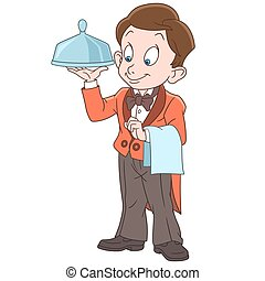 Cartoon waiter boy holding tray for hot dishes. Colorful...