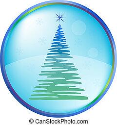 Christmas fur-tree buttons - Christmas button icon, vector...
