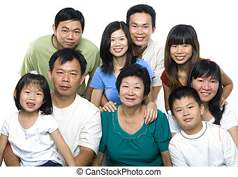 Asian family portrait on white background, 3 generations