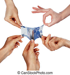 Several hands stretch of banknotes in different directions...