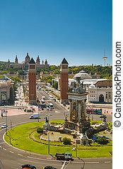 Placa de Espana - View on Plaza de Espanya with National...