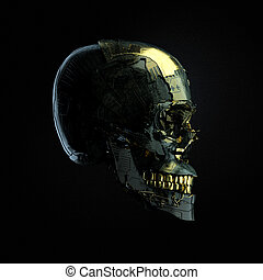 Robot cyborg skull with dark surface and golden glossy...