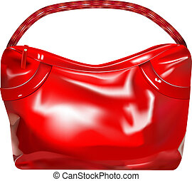 girl handbag - vector red ladys handbag on white background
