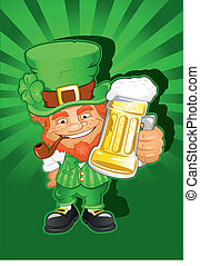 St Patricks Day Leprechaun holding a beer