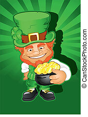St Patricks Day Leprechaun Head and Pot of gold