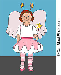 Little Angel - A cute illustration of a little girl dressed...