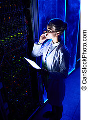 Woman Scientist in Data Laboratory - High angle portrait of...