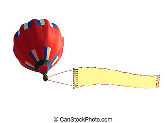 Airship and Blank Banner - 3D render of a airship pulling a...