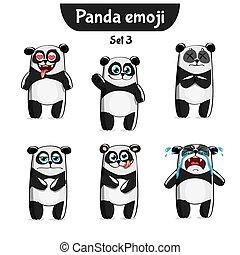Vector set of cute panda characters. Set 3 - Set kit...