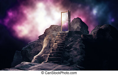 Inspiration concept - Mountain steps leading to abstract...