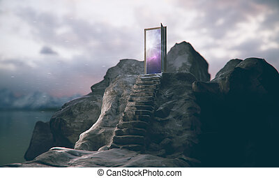 Leadership concept - Mountain steps leading to abstract open...