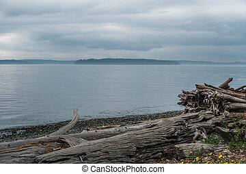 Overcast Puget Sound - A view of the Puget Sound on an...