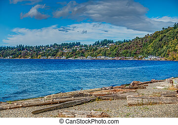 Puget Sound Shoreline Homes - Homes line the shore in...