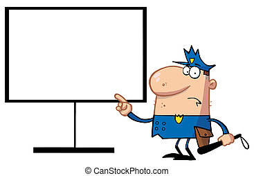 Police Pointing To A Blank Sign - Police Man Pointing To A...