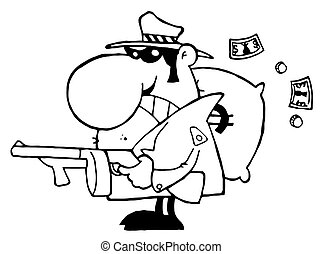 Outlined Tough Mobster Holding A Machine Gun And Money Sack