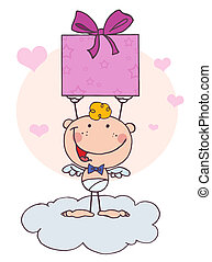 Cartoon Stick Cupid with Gift