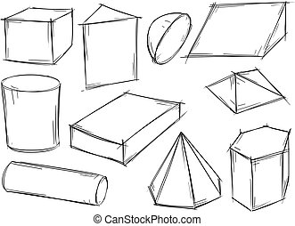 Set of Sketchy 3D Geometrical Shapes - Set of various...