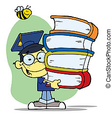 Graduation Asian Boy With Books - Bee Over A Happy Oriental...