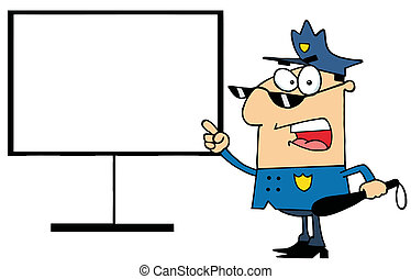 Police Officer Shows A Finger Board - Police Officer...