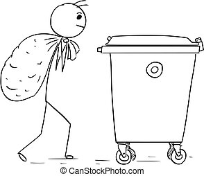 Man Carry Large Bag of Waste to Throw it in Waste Container...