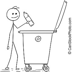 Smiling Man Throwing Plastic Bottle in to Waste Container -...