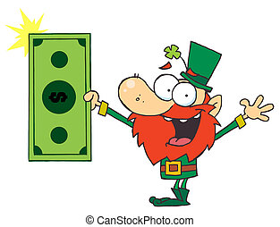 Leprechaun Holding A Dollar Bill - Rich Leprechaun Holding A...