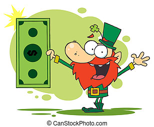 Leprechaun Holding A Dollar Bill