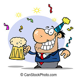 Businessman Celebrating At A Party - Drunk New Years Guy...